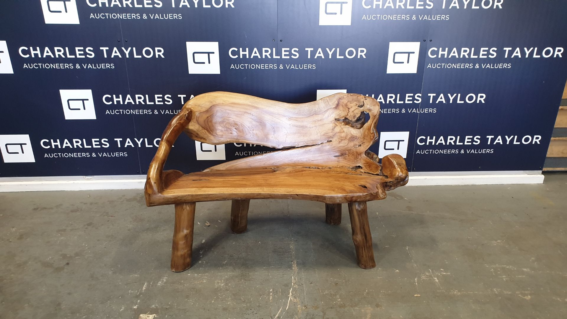 Lot 26 - BRAND NEW SOLID TEAK ROOT WOODEN 2 SEATER BENCH 50 X 90 X 120cm RRP £400