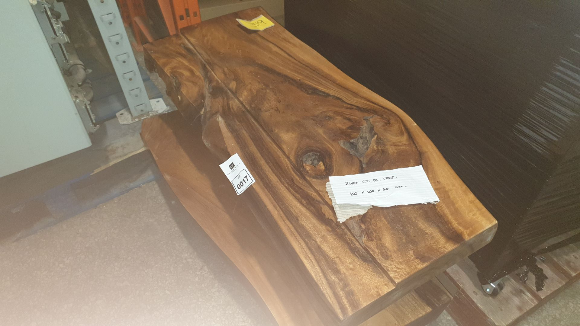 Lot 17 - BRAND NEW SOLID SUAR WOODEN RIVER COFFEE TABLE / NO LEGS 100 X 100 X 30 RRP £725
