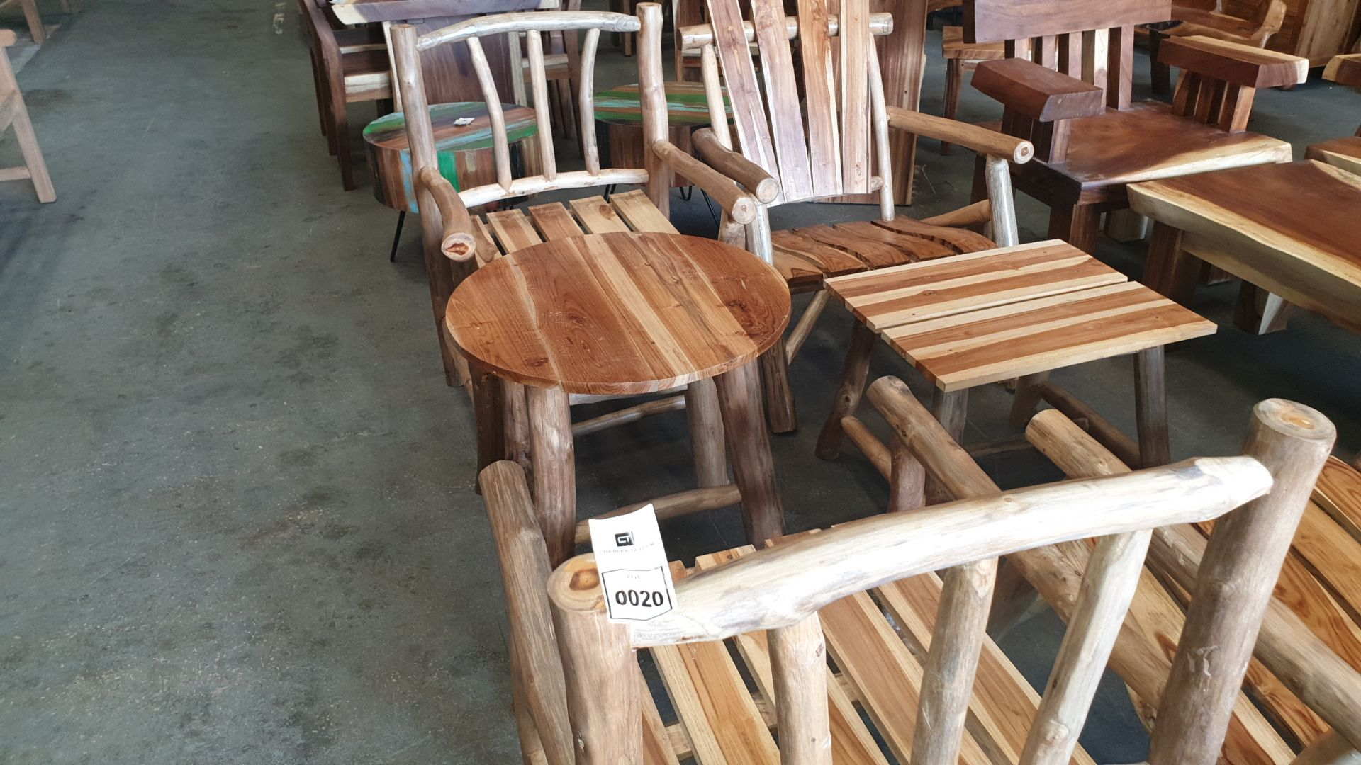 Lot 20 - BRAND NEW SOLID TEAK ROOT WOODEN FLINTSTONE CHAIRS AND COFFEE TABLE 95 X 65 X 60cm RRP £725