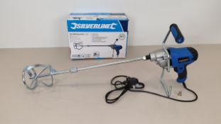 2 X BRAND NEW SILVERLINE DIY 850W PAINT / CEMENT / PLASTER MIXERS WITH 120MM DIA PADDLE, 80 LITRE