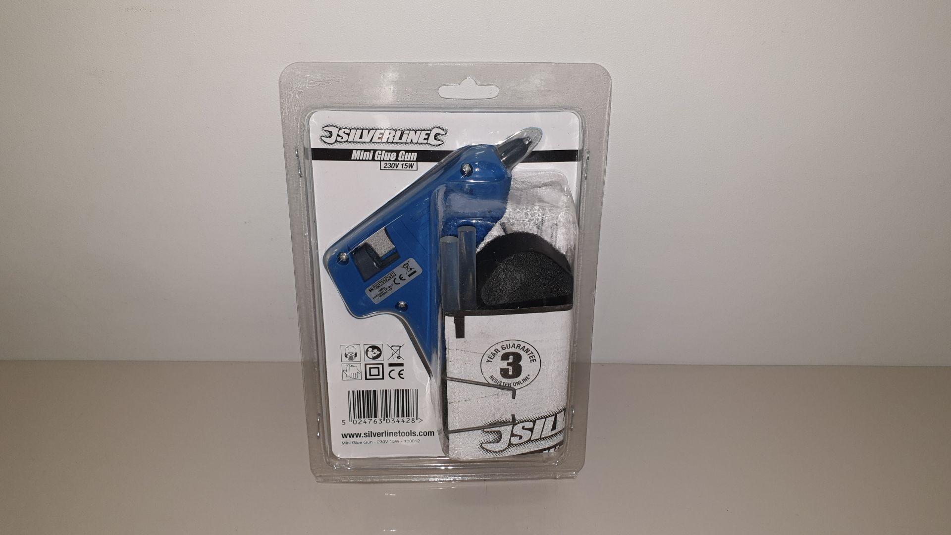 Lot 298 - 36 X SILVERLINE MINI HOT MELT GLUE GUNS 230V 7-10W PLUS 2 GLUE STICKS (PROD CODE 100012) TRADE PRICE