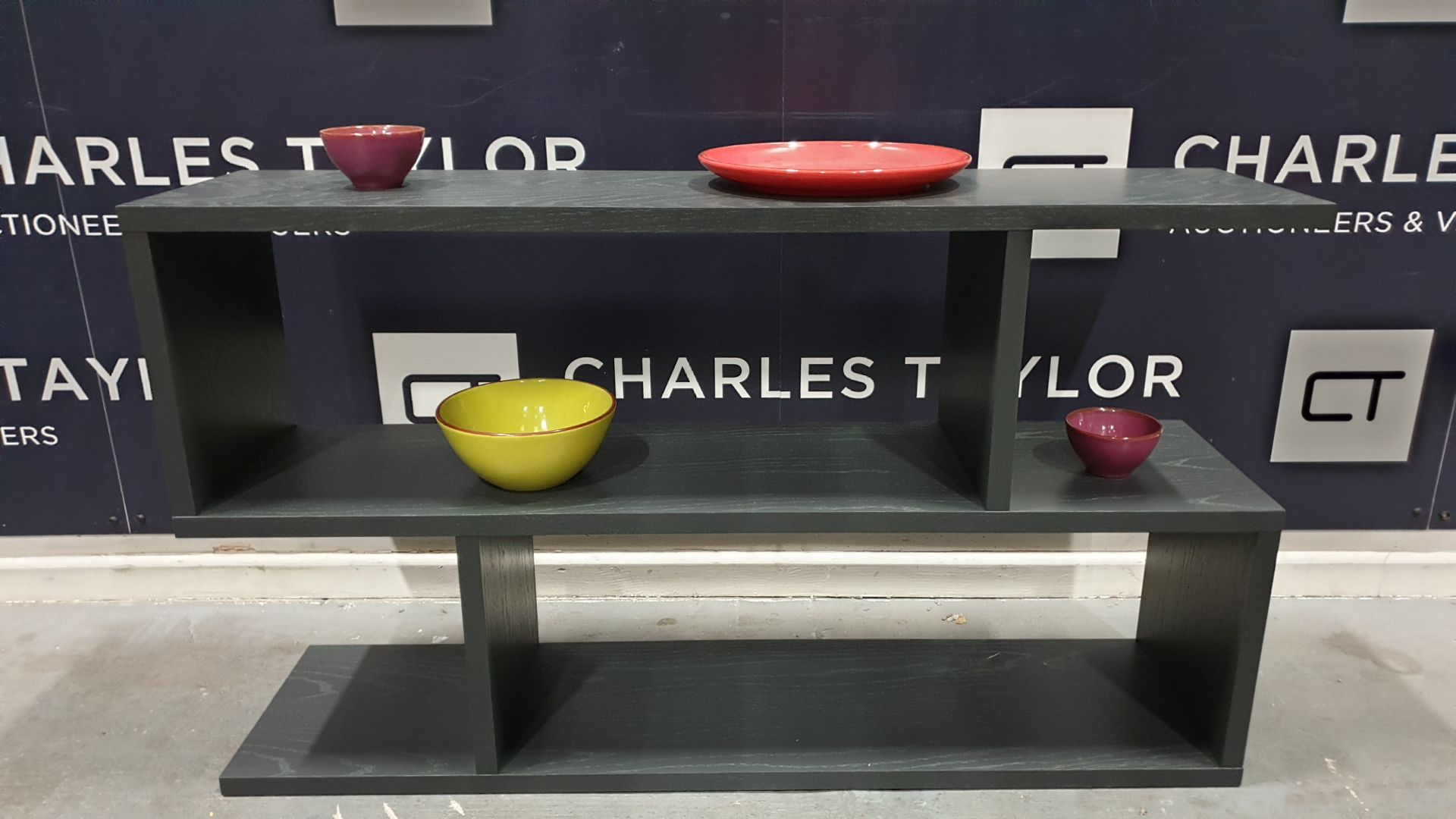 Lot 1010 - BRAND NEW CONTENT BY TERENCE CONRAN WOOD BALANCE LOW SHELVING UNIT IN CHARCOAL - 30 X 120 X 69CM £