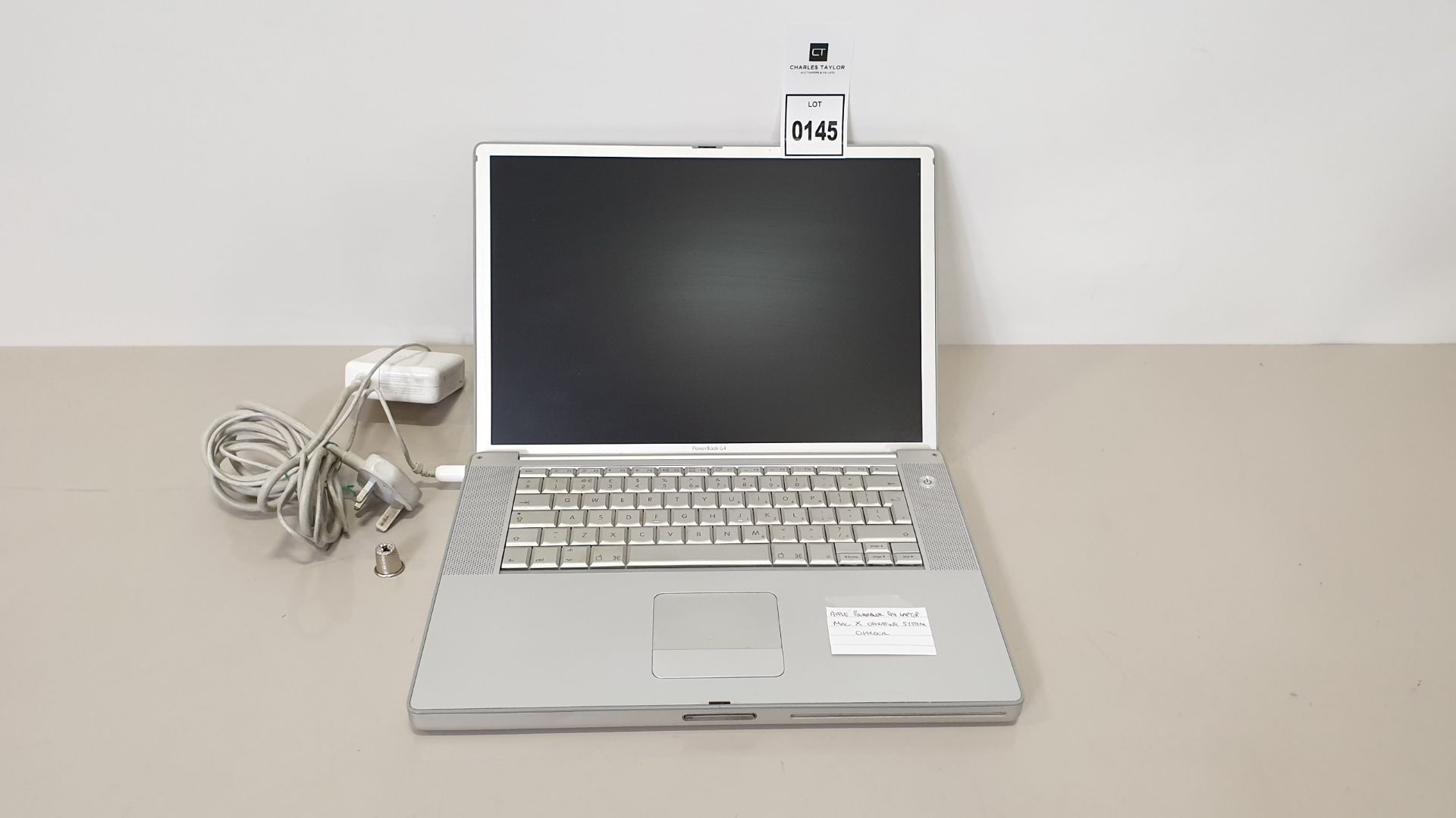 Lot 145 - APPLE POWERBOOK G4 LAPTOP MAC X OPERATING SYSTEM - WITH CHARGER
