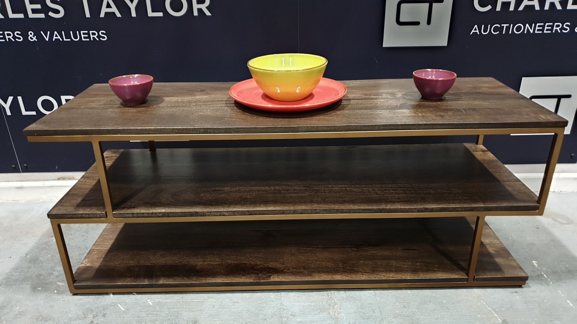 Lot 1011 - BRAND NEW BOXED CONTENT BY TERENCE CONRAN BALANCE COFFEE TABLE, WOOD/METAL(BRASS) - 41 X 121 X