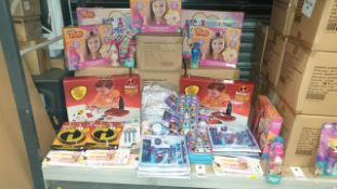APPROXIMATELY 60+ ASSORTED TOYS, LOT INCLUDING DISNEY SUPER STATIONERY SET, TROLLS MAKE YOUR OWN