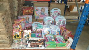 APPROXIMATELY 75+ ASSORTED TOYS INCLUDING TROLLS ACTIVITY PACK, INCREDIBLES 2 MINI ART CASE,