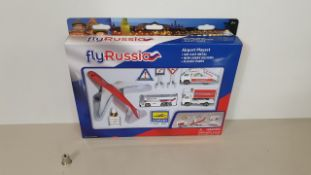 36 X BRAND NEW FLYRUSSIA DIE CAST METAL AIRPORT PLAYSETS (RUS6261) IN 1 CARTON - (ORIG RRP £19.00