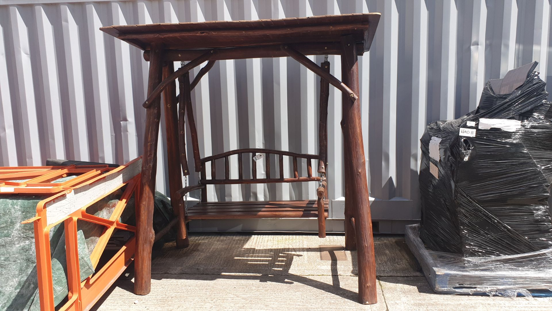 Lot 1115 - BRAND NEW SOLID TEAK ROOT WOODEN 2 SEATER SWING 250 X 120 X 200cm RRP £875