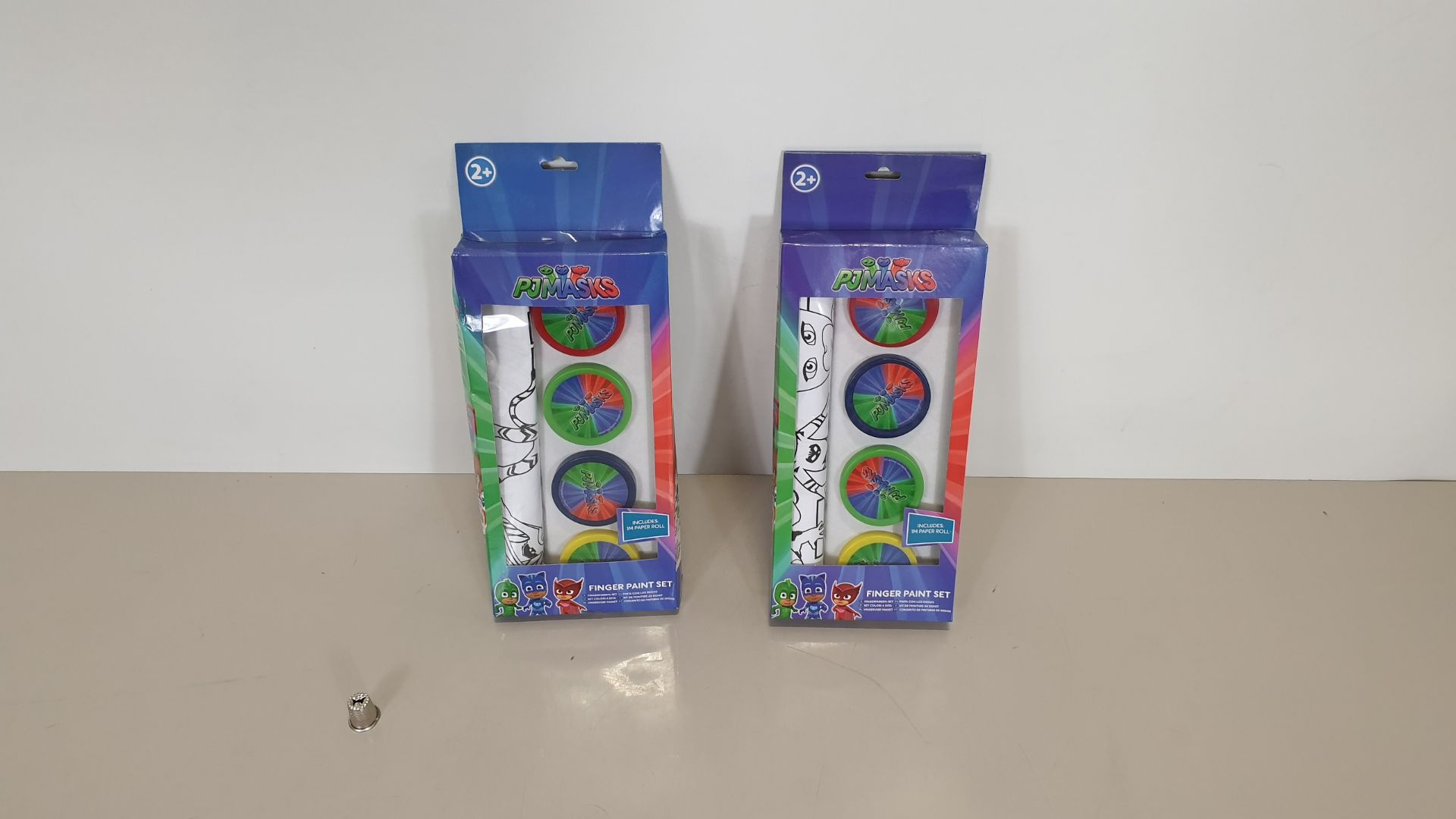 Lot 60 - 156 X BRAND NEW PJ MASKS 4 FINGER PAINT SET, INCLUDES 1M PAPER ROLL - IN 13 CARTONS