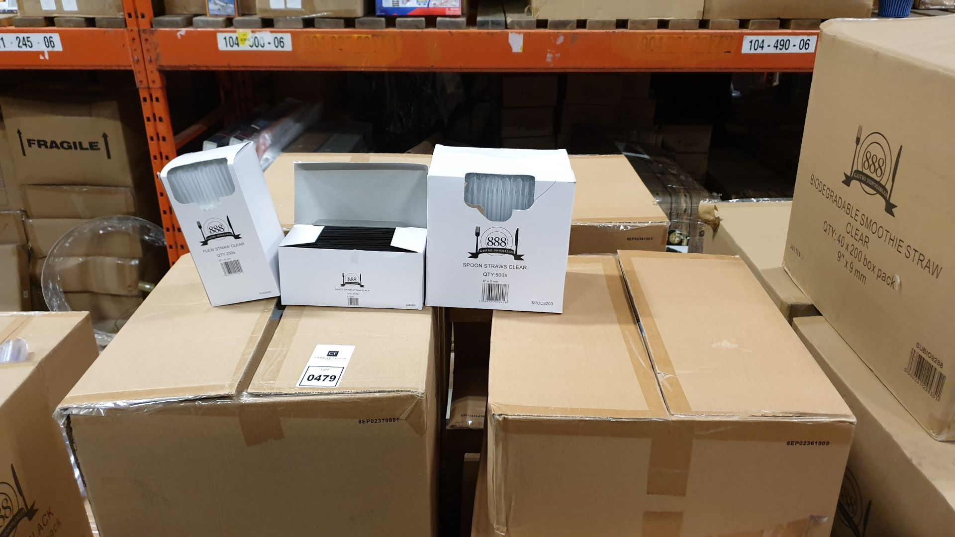 """Lot 479 - APPROXIMATELY 180,000 ITEMS CONTAINED ON ONE PALLET TO INCLUDE, 40,000 CLEAR SPOON STRAWS (8"""" X"""