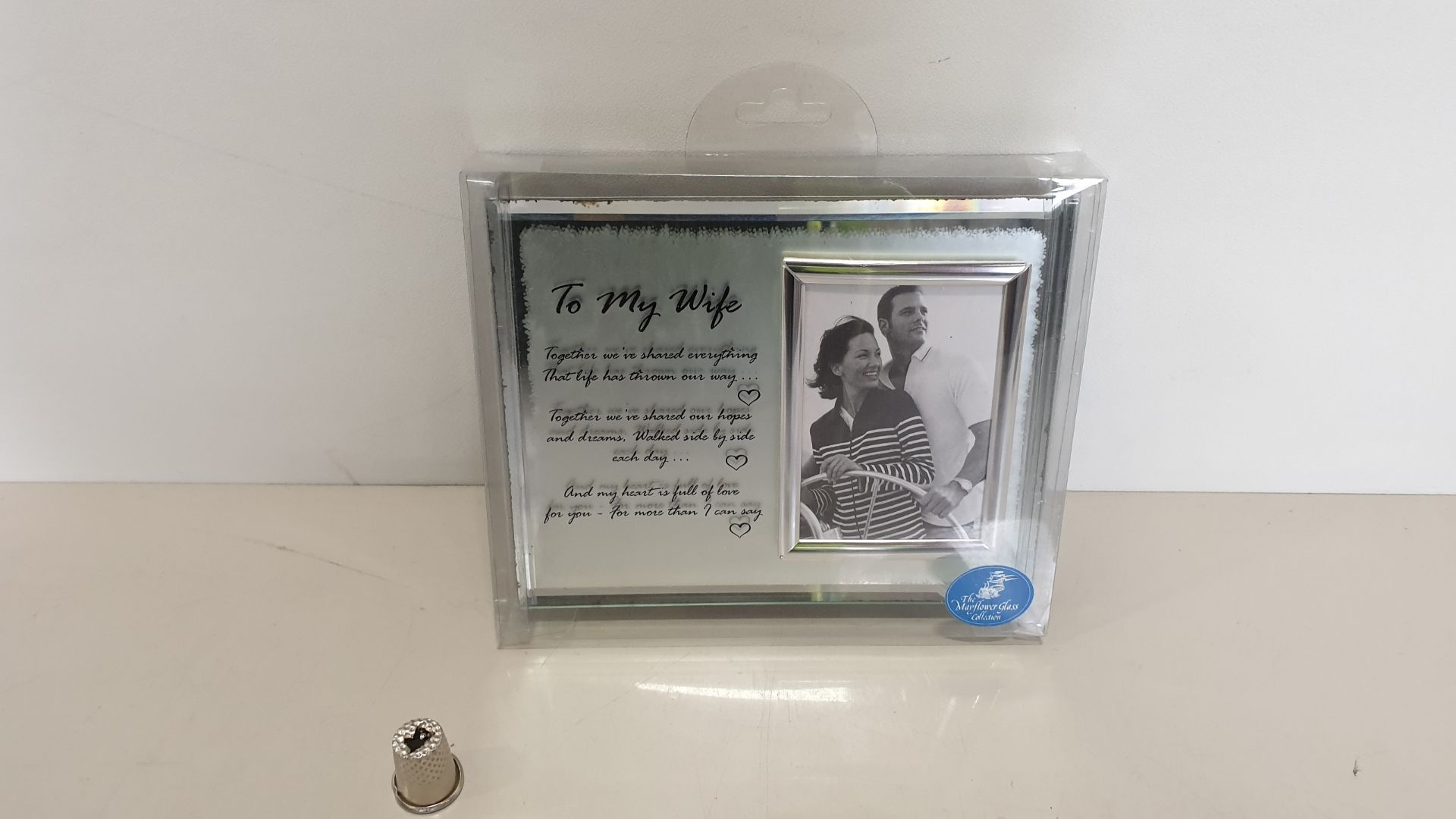 Lot 619 - 112 X BRAND NEW 'THE MAYFLOWER GLASS COLLECTION' TO MY WIFE MESSAGE FRAME - IN 2 BOXES AND 16 LOOSE
