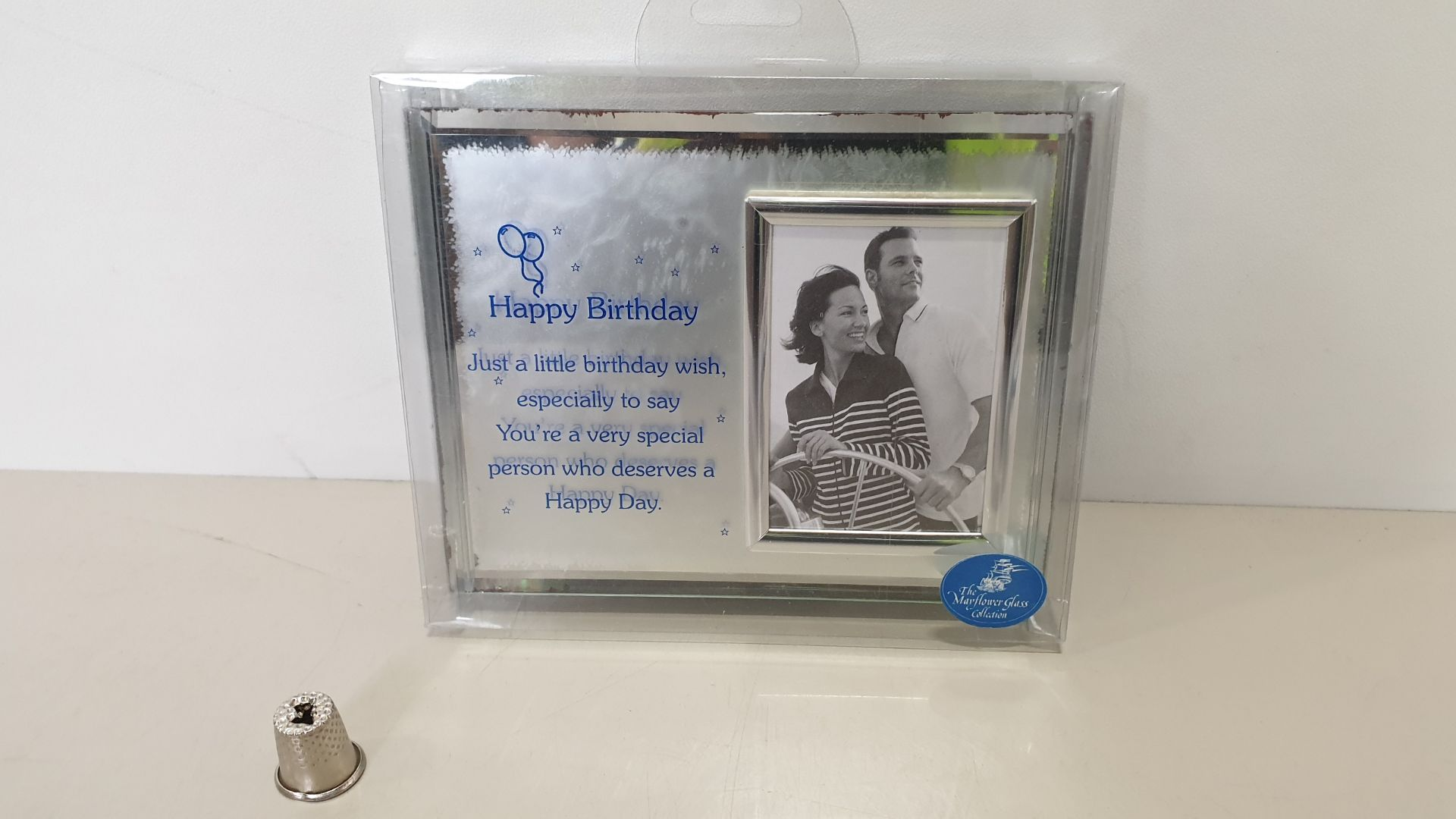 Lot 645 - 144 X BRAND NEW THE MAYFLOWER GLASS COLLECTION HAPPY BIRTHDAY MESSAGE FRAME - IN 3 BOXES