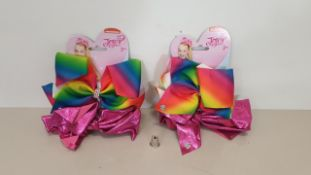 60 X BRAND NEW JOJO BOW 2 PIECE SET IN RAINBOW/HOTPINK - IN 3 BOXES
