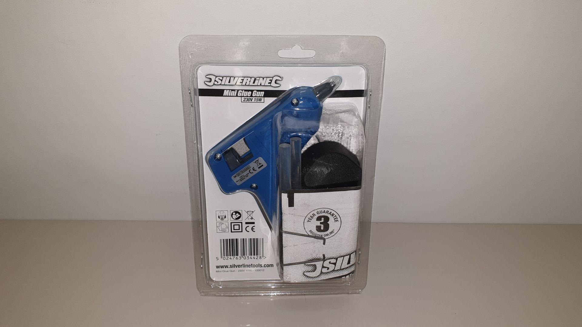 Lot 296 - 36 X SILVERLINE MINI HOT MELT GLUE GUNS 230V 7-10W PLUS 2 GLUE STICKS (PROD CODE 100012) TRADE PRICE