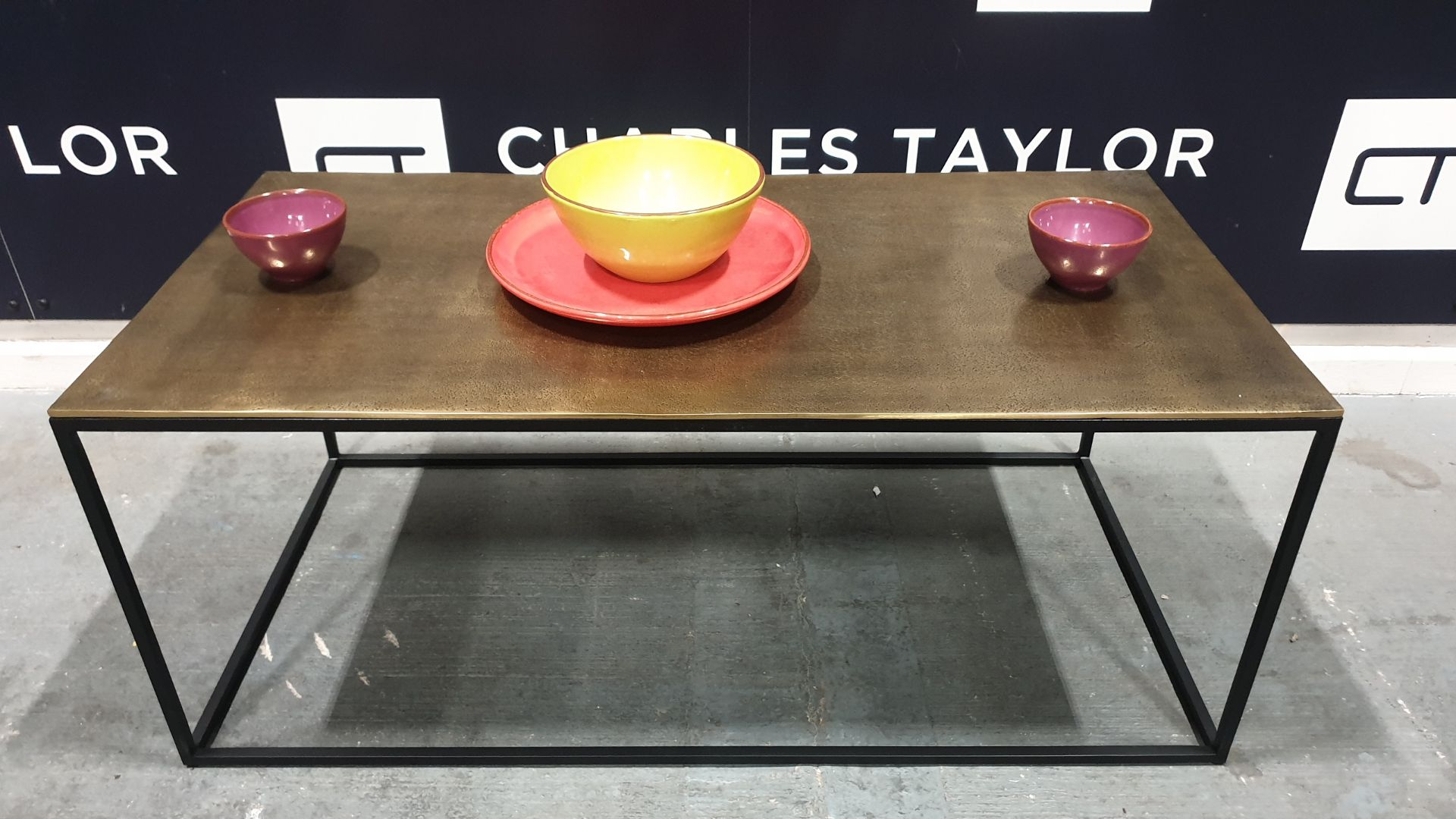Lot 1076 - BRAND NEW CONTENT BY TERENCE CONRAN FERA RECTANGULAR COFFEE TABLE WITH CAST TOP. - 50 X 100 X