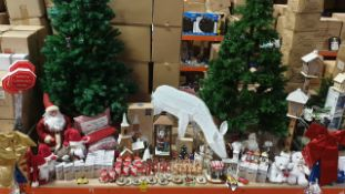90+ BRAND NEW ASSORTED PREMIER CHRISTMAS LOT CONTAINING CHRISTMAS TREES, 3 TIER WOODEN LIT CHURCH,