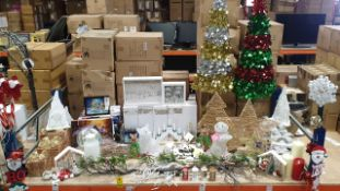 65+ PIECE BRAND NEW ASSORTED PREMIER CHRISTMAS LOT CONTAINING CHRISTMAS TREES, LED TREE AND STAR,