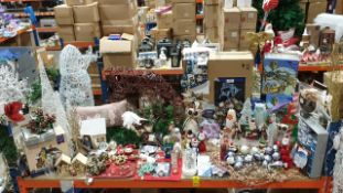 BRAND NEW MIXED CHRISTMAS LOT CONTAINING APPROX 75 PCS I.E LIT CHRISTMAS VILLAGE SCENE, LARGE LED