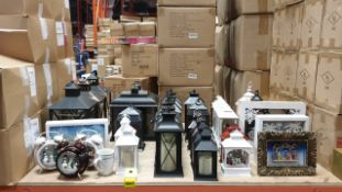 36 PIECE PREMIER CHRISTMAS LOT CONTAINING VARIOUS GLASS LANTERNS DIFFERENT SHAPES AND SIZES,