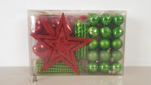 100 X BRAND NEW ASDA 53PK OF CHRISTMAS DECORATIONS INCLUDING BAUBLES STARS AND HANGING DECS IN 25