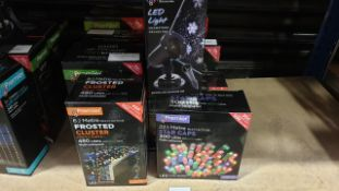 9 X PIECE MIXED PREMIER LIGHTS LOT CONTAINING 25M MULTIACTION TREE BRIGHTS, 22.5M MULTI-COLOURED