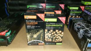 8 PIECE MIXED PREMIER SUPABRIGHTS LOT IE. CLUSTER 6.2M WARM WHITE MULTI ACTION BRIGHTS, 16M