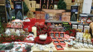 APRROX 200+ PIECE MIXED PREMIER CHRISTMAS LOT IE. GIANT 3 PIECE CANDY CANE PATH LIGHTS, FIBRE