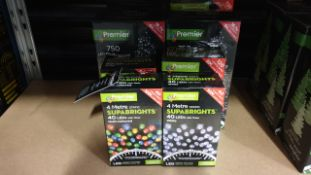 8 PIECE MIXED PREMIER CHRISTMAS LOT CONTAINING 25M WARM WHITE 720 LED BRIGHTS, 18.7M MULTI-ACTION