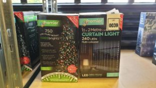 8 PIECE MIXED PREMIER SUPABRIGHTS LOT IE, 4 X 18.7M 750 LED MULTI ACTION RAINBOW COLOURED TREE