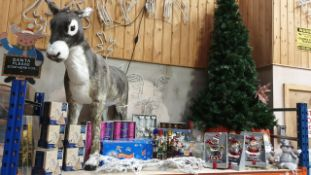 APPROX 100+ PIECE MIXED PREMIER CHRISTMAS LOT IE. LARGE CHRISTMAS TREE, LARGE XMAS DONKEY, FLYING