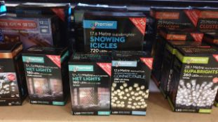 4 PIECE MIXED PREMIER SUPABRIGHTS LOT IE, 50M WHITE TREE BRIGHTS, 17.8M SNOWING ICICLE BRIGHTS, 1.