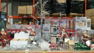 APPROX 140+ PIECE MIXED PREMIER CHRISTMAS LOT IE. FIBRE OPTIC TREES, LED CANAVAS, LARGE PULLS WITH