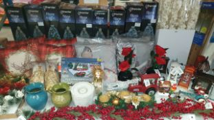 APPROX 65+ PIECE MIXED PREMIER CHRISTMAS LOT IE. FIBRE OPTIC TREES, ASSSORTED XMAS CUSHIONS, DIY