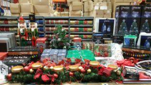 APRROX 200+ PIECE MIXED PREMIER CHRISTMAS LOT IE. ADULT INFLATABLE SANTA SUITS, FIBRE OPTIC TREES,