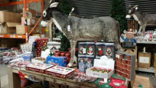 APPROX 120+ PIECE MIXED PREMIER CHRISTMAS LOT IE. LARGE CHRISTMAS DONKEY, SANTA WINDOW CLINGS,