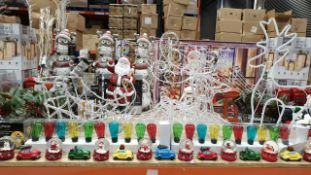 APPROX 80+ PIECE MIXED PREMIER CHRISTMAS LOT IE. SET OF 3 LIT UP PRESENTS, ACRYLIC SLEIGH AND
