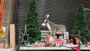 APPROX 80+ PIECE MIXED PREMIER CHRISTMAS LOT IE. LARGE CHRISTMAS TREE, LARGE XMAS DONKEY, LANTERN