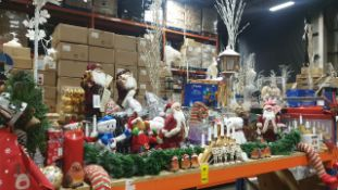 APPROX 120 PIECE MIXED PREMIER CHRISTMAS LOT CONTAINING, 40CM STANDING SANTA WITH GLASSES, 1M WOODEN
