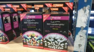 MIXED PREMIER LIGHTS LOT CONTAINING 8 PIECES IE, 25M CLUSTER SUPABRIGHTS, 9.3M CHERRY FROSTED