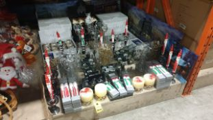 APPROX 125 PIECE MIXED PREMIER CHRISTMAS LOT CONTAINING, SET OF TWO TAPER CANDLES, LED CHRISTMAS