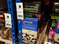 6 PIECE ASSORTED BRAND NEW PREMIER LIGHT LOT CONTAINING 25M 2000 LED MULTI ACTION CLUSTER