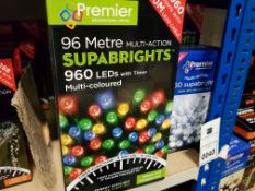 6 PIECE ASSORTED BRAND NEW PREMIER LIGHT LOT CONTAINING 5 X 96M MULTI ACTION SUPABRIGHTS ( 960
