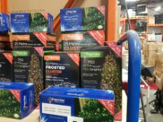 6 PIECE ASSORTED BRAND NEW PREMIER LIGHT LOT CONTAINING 2000 LED 25 METRE MULTI ACTION CLUSTER