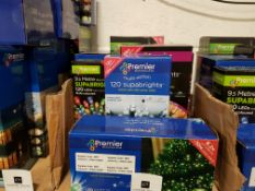 7 PIECE ASSORTED BRAND NEW PREMIER LIGHT LOT CONTAINING 1000 LED MULTI ACTION TREE BRIGHTS, 200