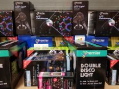 9 PIECE ASSORTED BRAND NEW PREMIER LIGHT LOT CONTAINING LED KALEIDOSCOPE, LED LIGHT SNOWSTORM