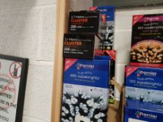 8 PIECE ASSORTED BRAND NEW PREMIER LIGHT LOT CONTAINING 3 X 3.7 METRE MULTI ACTION 288 LED CLUSTER