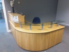 CURVED WOODEN RECEPTION DESK WITH GLASS SHELF AND 3 X 2 DRAWER PEDASTALS, DARK BLUE OFFICE CHAIR,