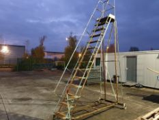 2 X MOBILE STEP LADDERS, 9 TREAD TO WORKING PLATFORM AND 13 TREAD TO WORKING PLATFORM