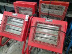 4 X CLARKE MOBILE ELECTRIC HEATERS