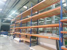 8 BAYS OF PALLET RACKING COMPRISING OF 11 UPRIGHTS APPROXIMATLEY 20FT TALL AND 63 X BEAMS